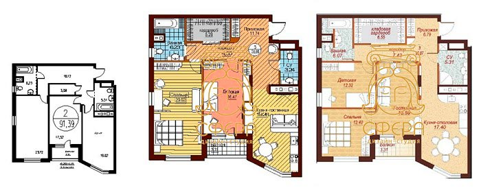 Планировка современной квартиры 43 квм