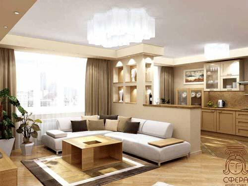 Дизайн студии кухни гостиной